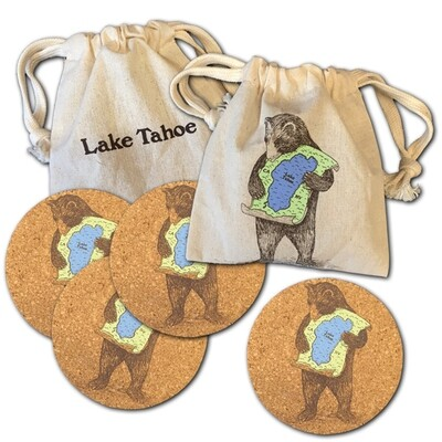 SFM Lake Tahoe bear coasters s/4