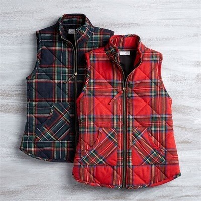 MP Red tartan vest quilted red