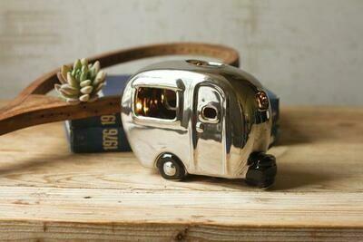 Silver Ceramic Camper Lamp