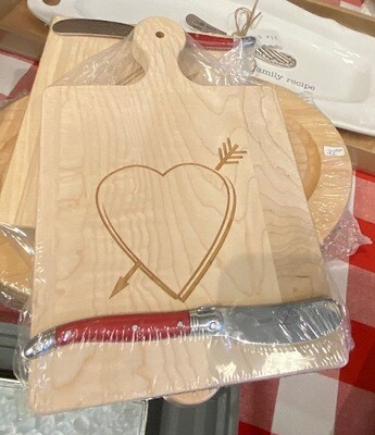 Heart Cheese Board 9x6 with spreader