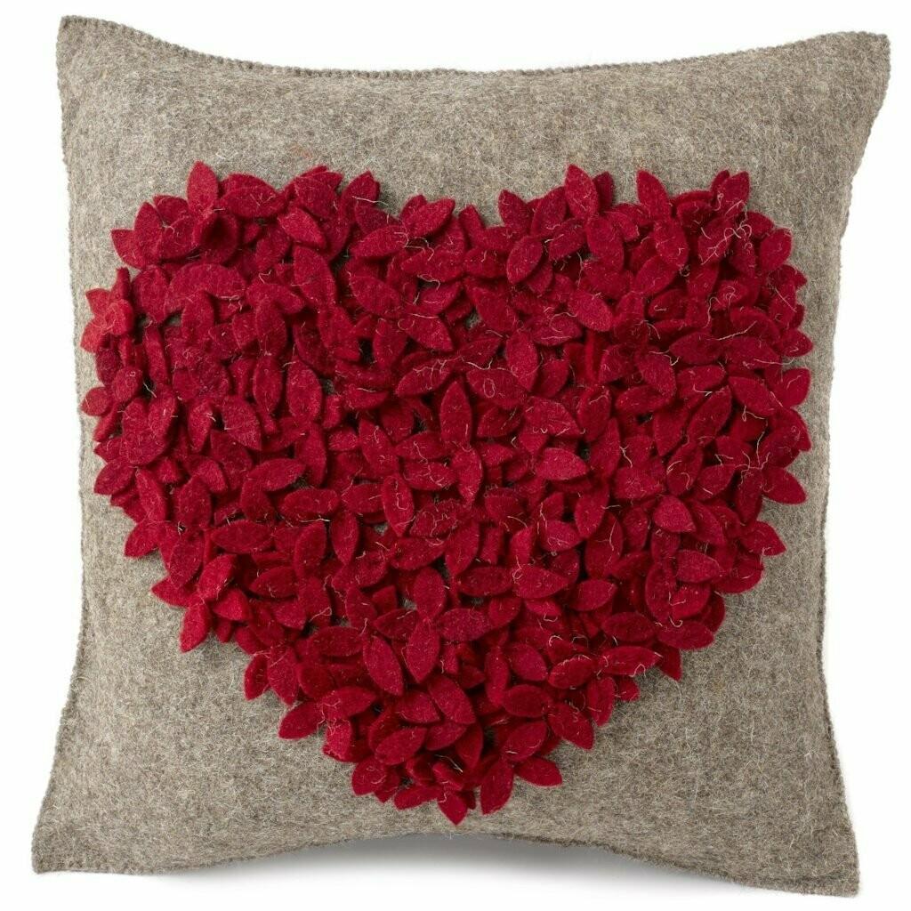 AH Pillow Red Heart Felt on Wool