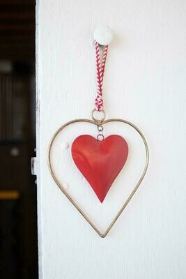 KAL Antique Brass Red Heart Door Hanger