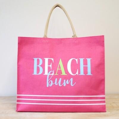 Beach Bum Carryall Tote in Hot Pink/Aruba Blue