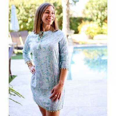 Panama Tunic Cover Up in Blue Glass/ Turquoise