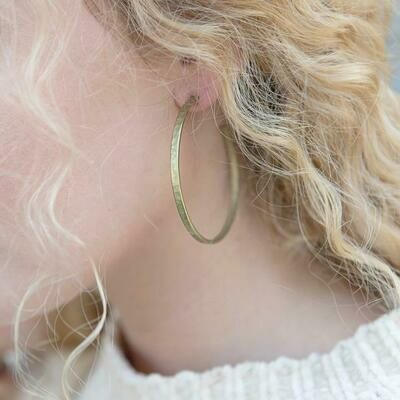 Stone+Stick Brass Earrings - Hammered Hoops
