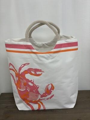 Crab Shore Tote in White/Pink/Orange