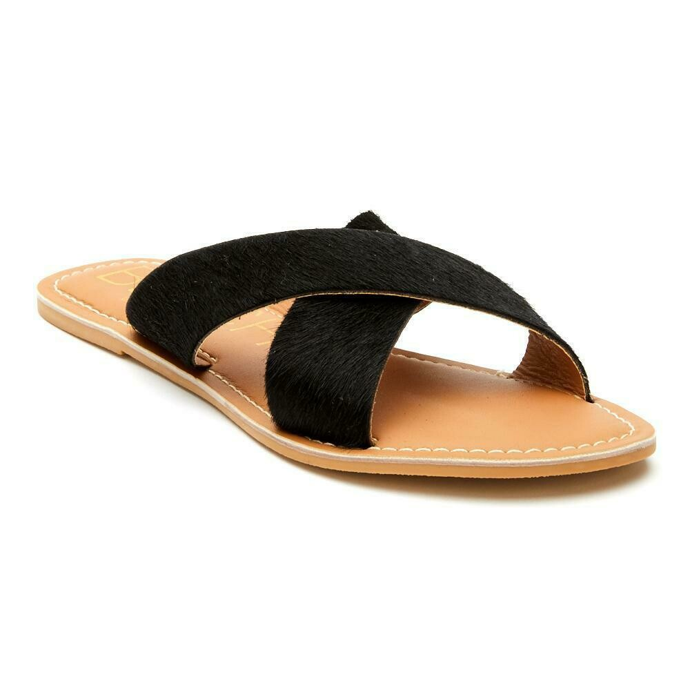 Beach Pebble Black/Cowhair Sandal