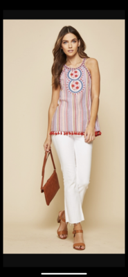 Embroidered Sleeveless Top - Multi