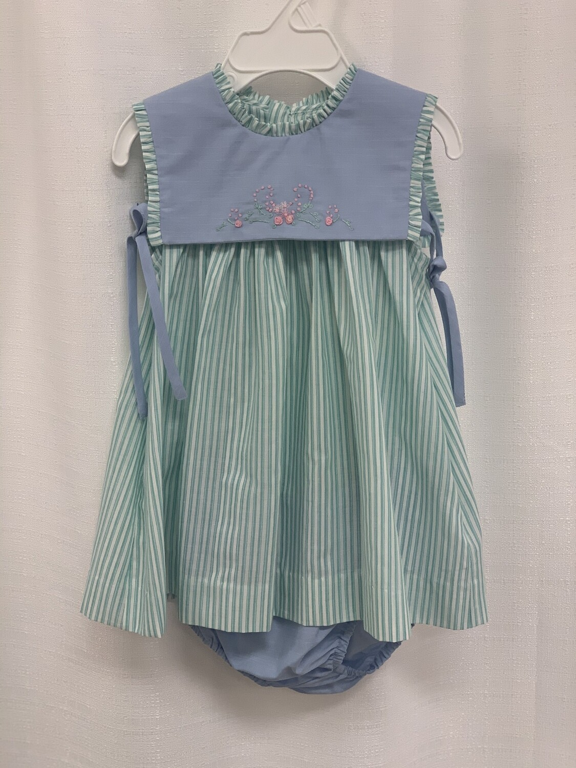 Sophie & Lucas Green Stripe Embroidered Dress