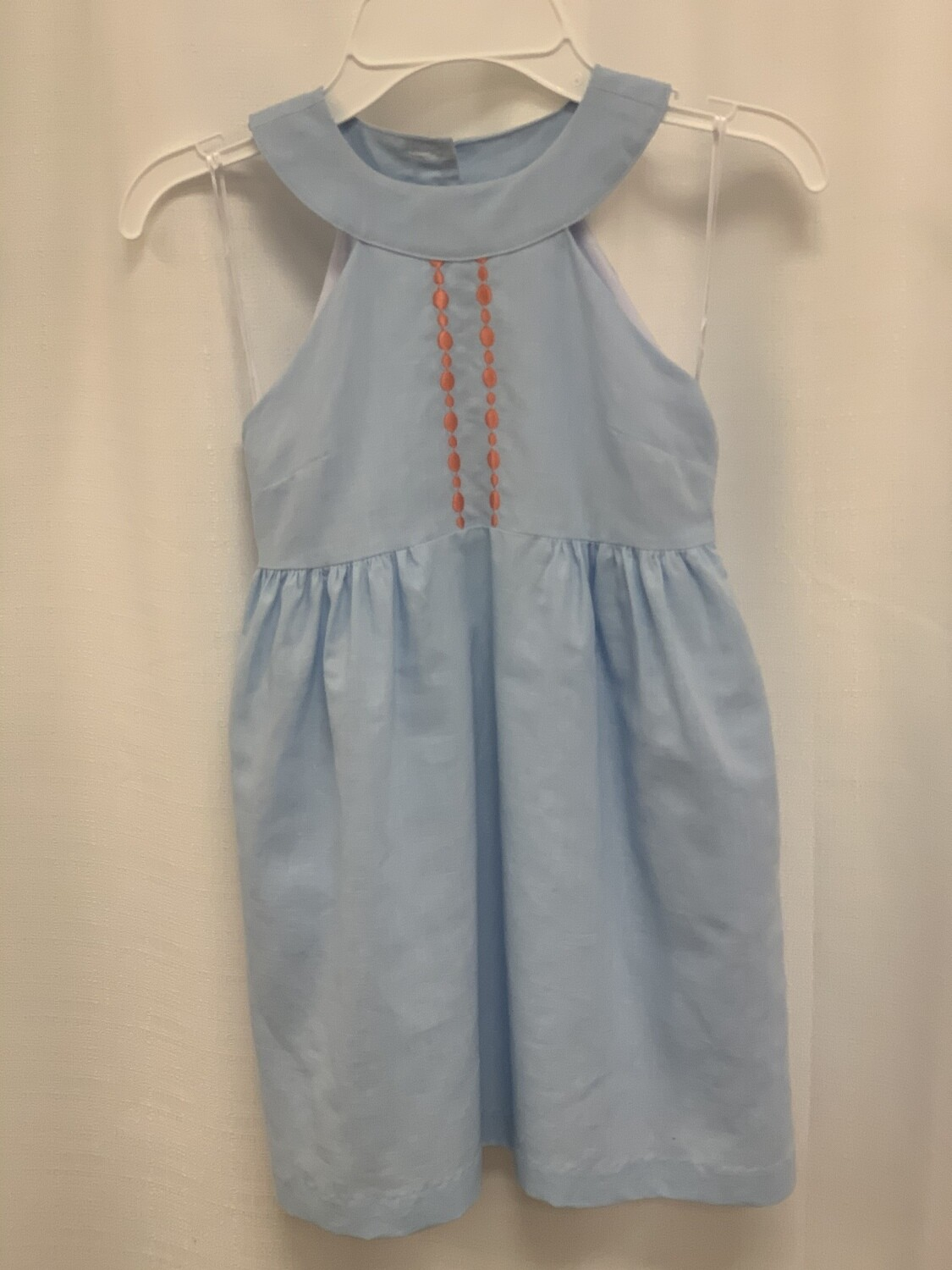 Gabby Light Blue Dress with Coral Dots Embroidery