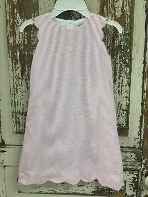 Gabby Scalloped Light Pink Seersucker Dress