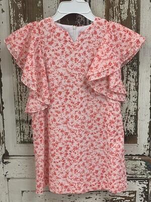Gabby Pink Floral Flutter Sleeve Dress