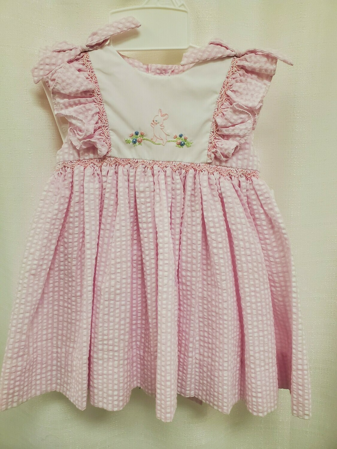 Petit Ami [2279] Bunny Dress- Pink and White Gingham