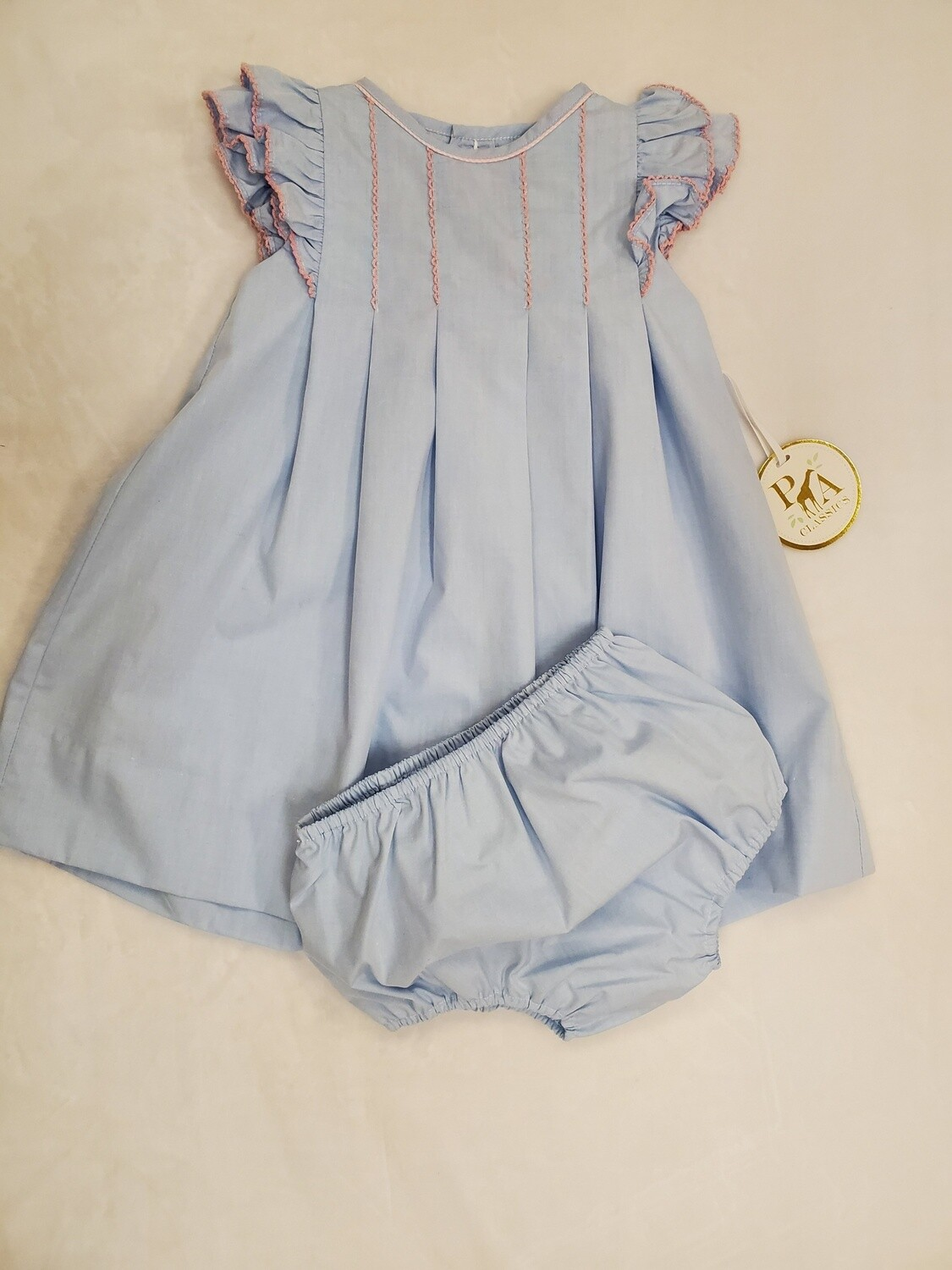 Petit Ami [3091] Blue Dress with Light Pink Trim
