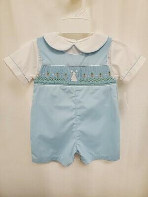 Petit Ami [3758] Blue Smocked Bunny Shortall