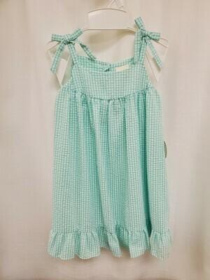 Petit Ami [4092] Mint Green & White Gingham Dress