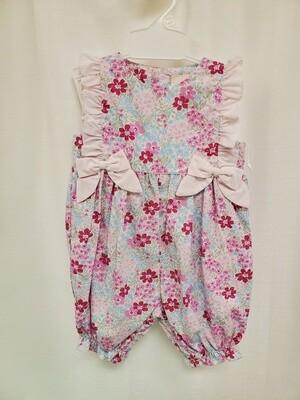 Petit Ami [3400] Pink Floral Bow Romper