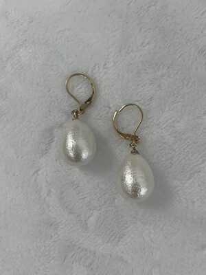 Cotton Tear Drop Pearl Earrings