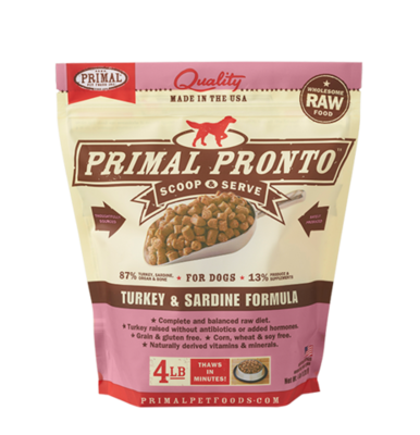 Primal Prontos 4 lb - Turkey & Sardine
