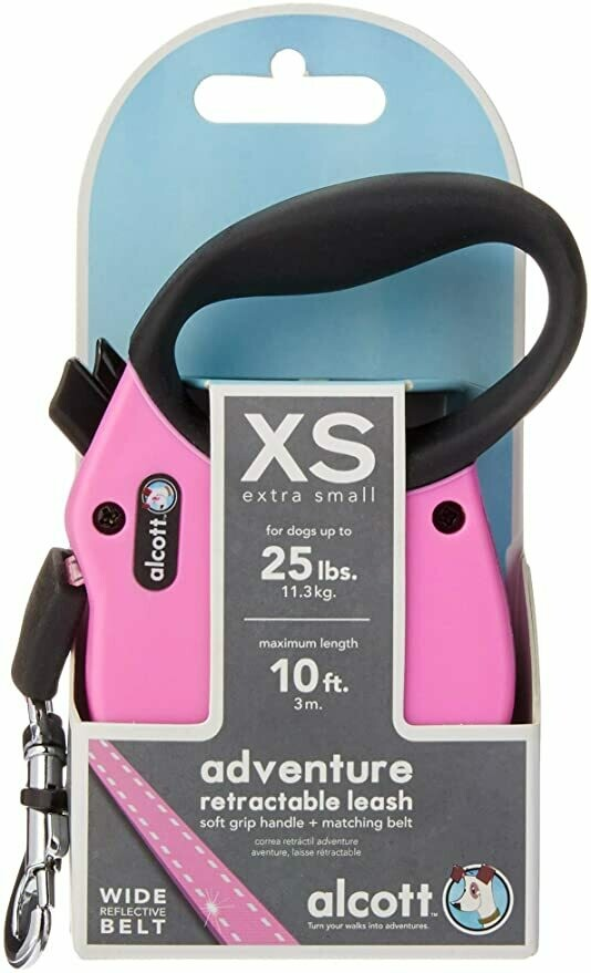 Alcott Retract Leash - XS Pink