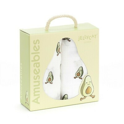 Jellycat Amuseables Avocado Set of 2 Baby Muslins