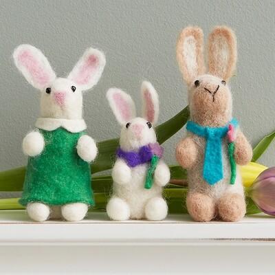Fair Trade Hand-Felted Bunny Family - 65704