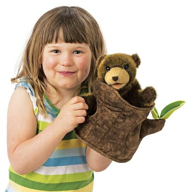 Bear in a Tree Stump Puppet