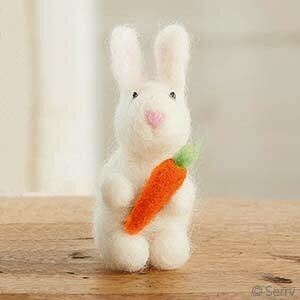 White and Fuzzy Bunny w/ Carrot - 65674