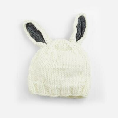 Blueberry White/Gry Bunny Hat