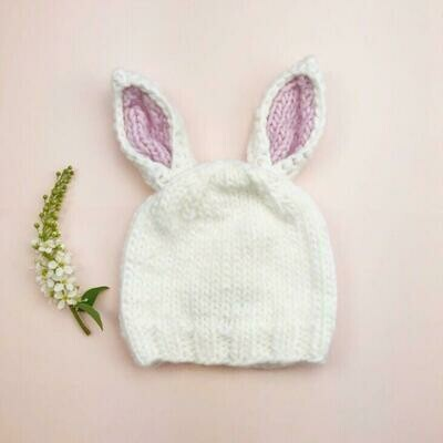 Blueberry White/Pnk Bunny Hat