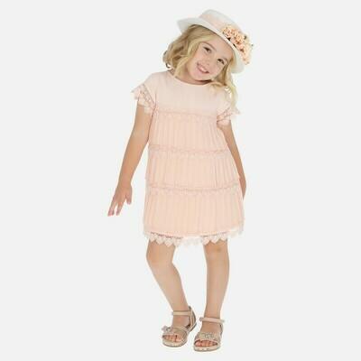 Mayoral 3917 Peach Pleat Dress