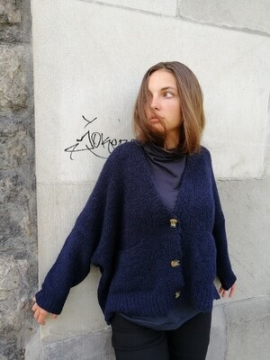 Strickjacke, navy, ALEMBIKA