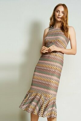 Multi Colored Crochet Midi Dress