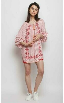 Peach Melba Embroidered Stripe Dress