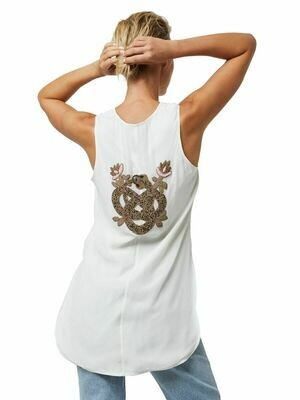 Infinite Beaded Snake Emblem Sleeveless Top