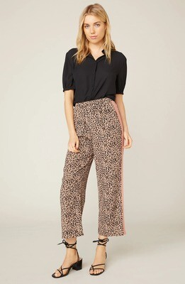 Leopard Print Pant with Peach Side Stripe