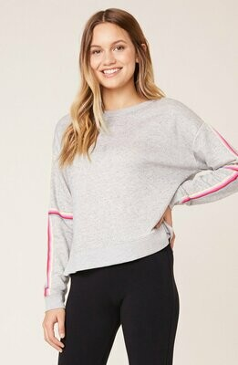 Grey Sweatshirt with Rainbow Striped Sleeve
