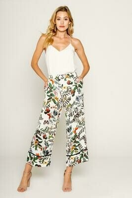 Tropical Pull On Wide Leg Pant