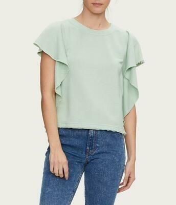 Pistachio Flutter Sleeve Pullover Shirt