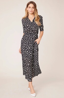 Black & White Floral Midi Shirt Dress