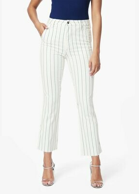 White Pinstripe Slim Kick Trouser Jean