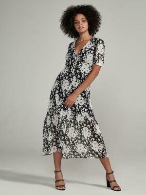 Black & White Floral Button Down Maxi Dress