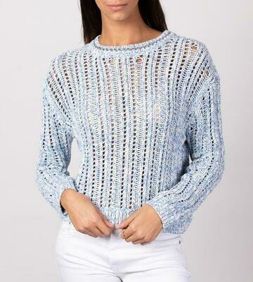 Blue & White Open Stitch Pullover