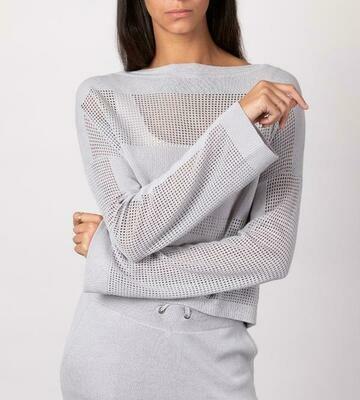 Light Gray Mesh Pullover