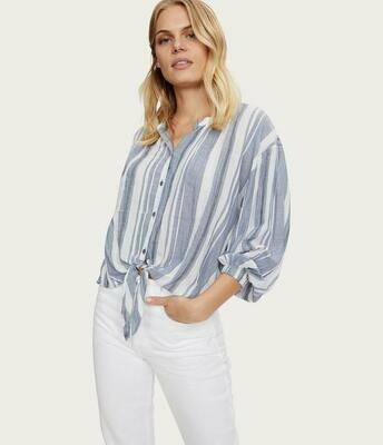 Lake Blue Striped Tie-Front Button Down Shirt