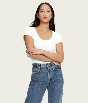 White Scoop Neck Pointelle T-Shirt