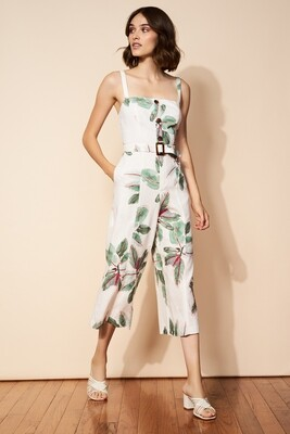 Ivory Bali Watercolor Belted Linen Jumpsuit
