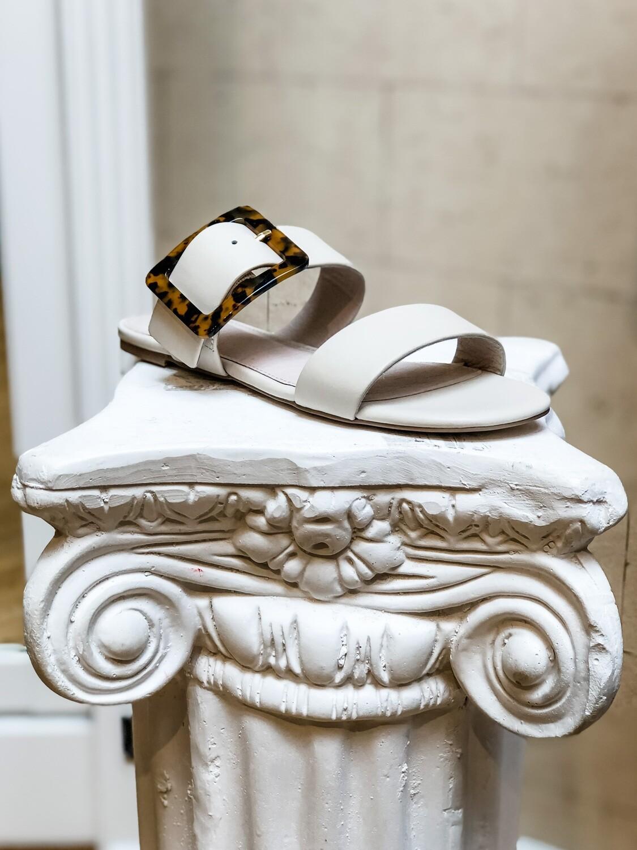 Off-White Slide Sandal With Tortoise Buckle