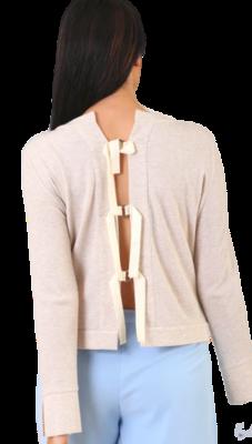 Oatmeal Tie Back Sweater
