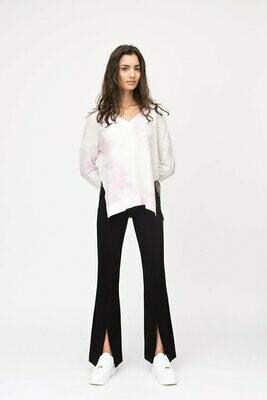 Pink Tie-Dye V-Neck Pullover